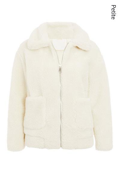 Petite Cream Teddy Bear Short Jacket